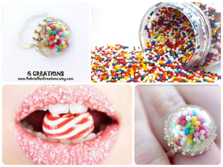Real colorful sprinkles – don't eat them, wear them (in  a cute dome ring)! Brought to you by G Creations: www.etsy.com/listing/186275303 #etsy #adjustable #ring #dome #kawaii #sprinkles