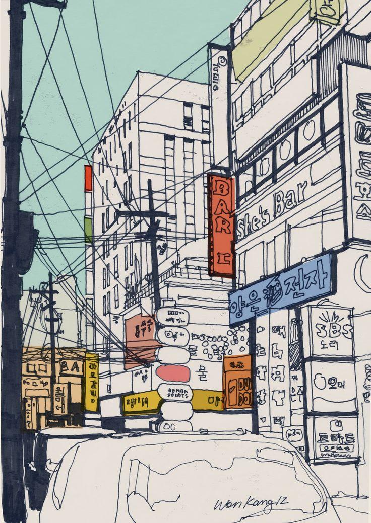 Gangnam Alley Seoul by Won Kan