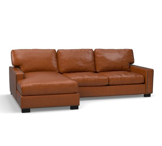 Turner Square Arm Leather Sofa with Chaise Sectional with Nailheads