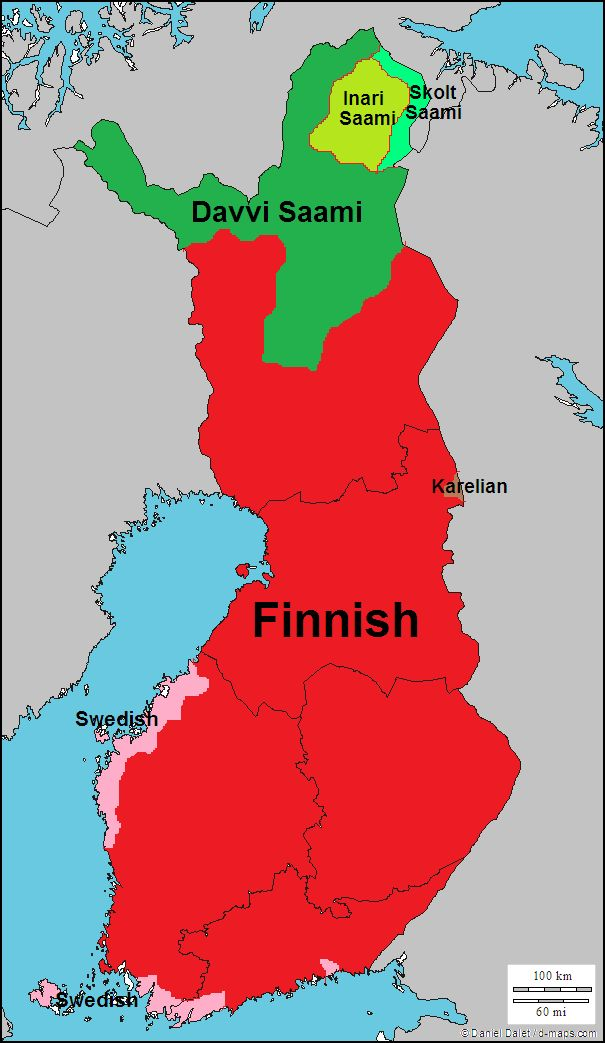 Languages of Finland, Finnish in the main language in Lappland too, but the native minority language is sami.