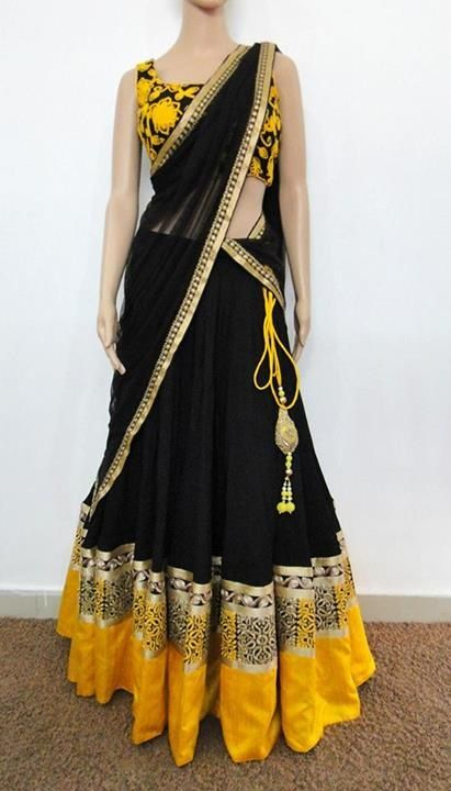 Varuna jithesh black-yellow velvet lehanga