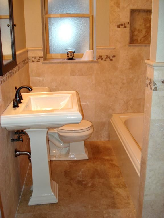 Tiled Waincoating Travertine Tile Bathroom St Louis