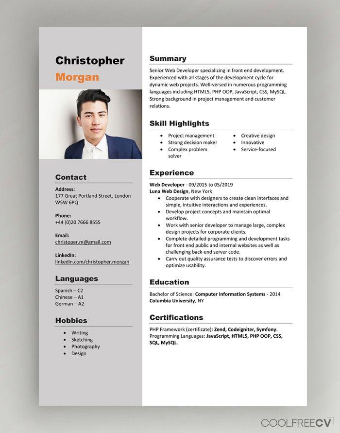 Cv Resume Templates Examples Doc Word Download Desain Cv Resume Profesional Cv Kreatif