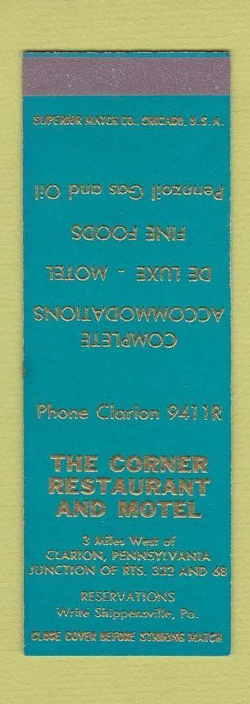 Matchbook Cover - Corner Restaurant Motel Clarion Shippensville PA SAMPLE