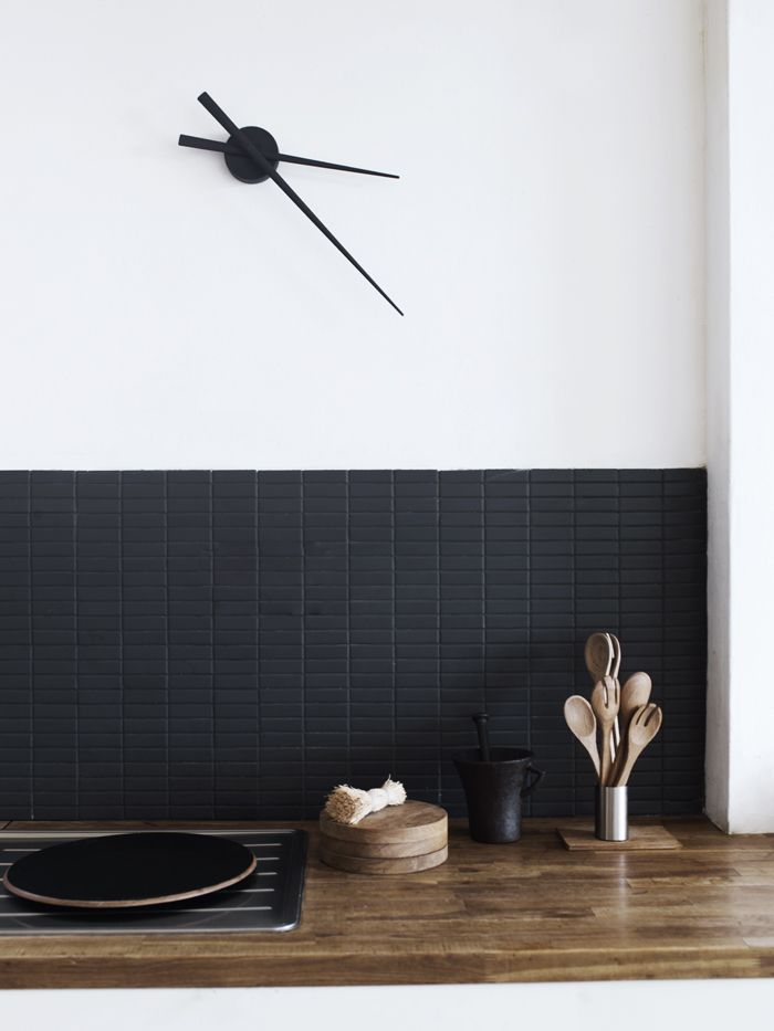 simple black kitchen tiles, black + white + wood kitchen