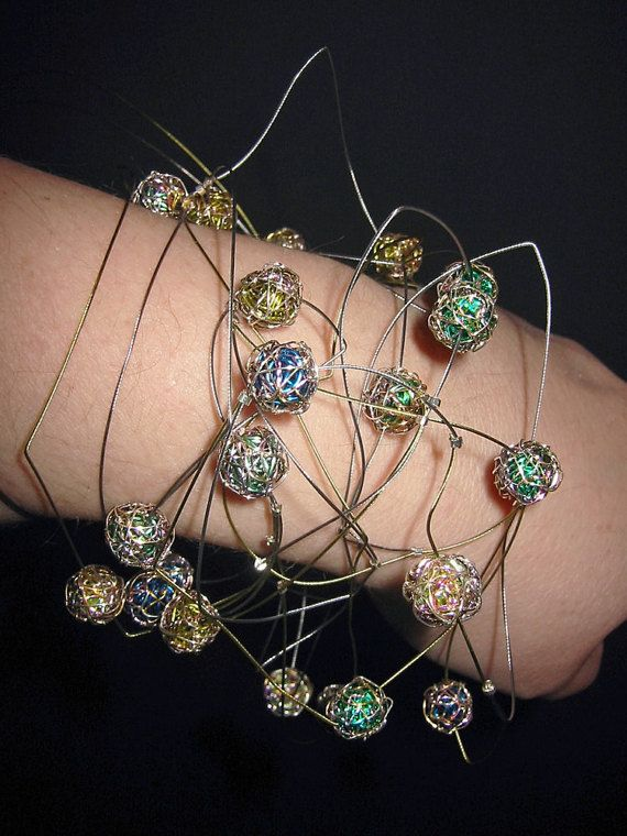 Ball bracelet, modern bracelet, abstract, art to wear, wide, colorful, wire geometric jewelry, boho chic, unique bridesmaid gift, Christmas  Modern, wide, ball bracelet, abstract art jewelry This contemporary, versatile, wire sculpture, art to wear jewelry, is made from colored copper wire, silver, and steel wire. The boho chic, geometric, unique bridesmaid gift, the bracelet is versatile and you can also wear it as a necklace.  The bracelet is a unique summer jewelry or Christmas gift.