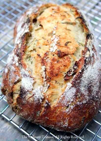 Basil Garlic Black Pepper Crusty Bread