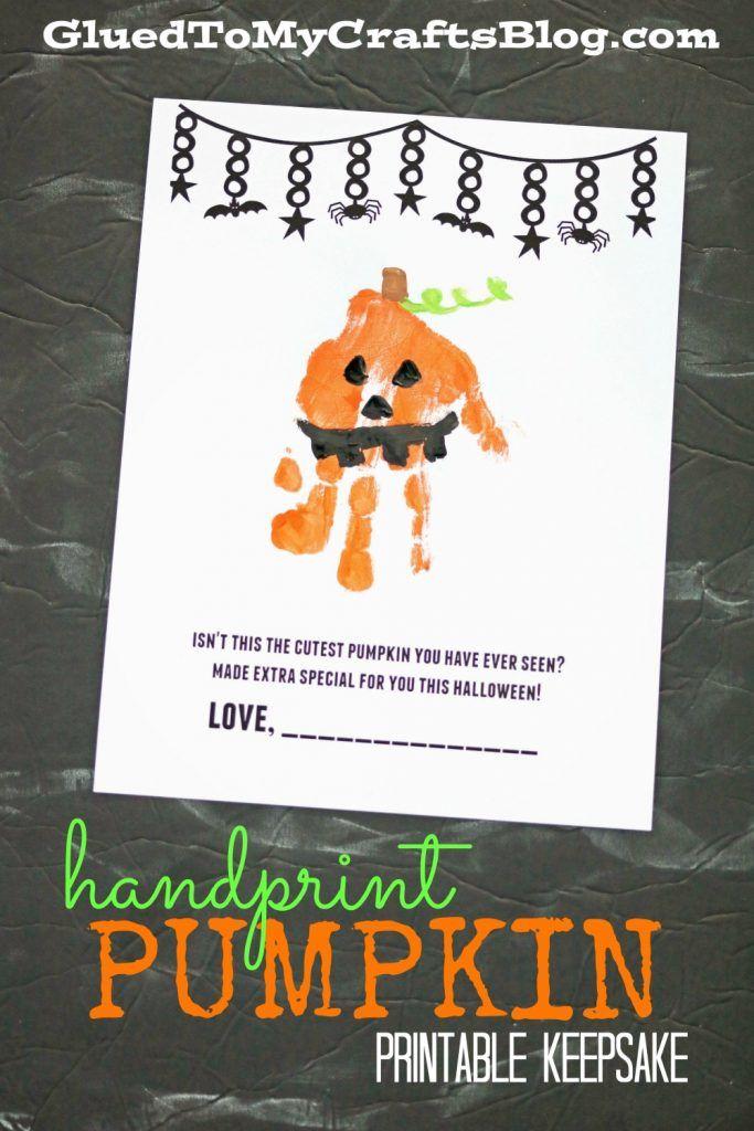 Handprint Pumpkin Printable Keepsake Idea - FREE Printable Included