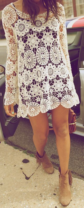 ☮ American Hippie Bohemian Style ~ Boho Crochet Dress and Boots!