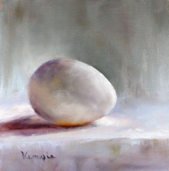 original art oil painting still life white egg por veneziaart