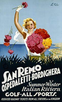 Vintage travel poster, San Remo, Ospedaletti, Bordighera - Riviera dei Fiori - Liguria #beach #spiaggia #essenzadiriviera www.varaldocosmetica.it