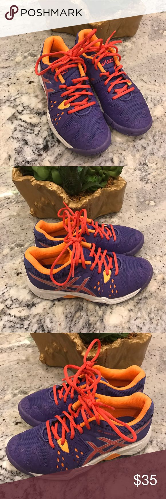 Asics Gel Resolution Girls Tennis Shoes Sz1 Asics Gel Resolution Flexion Fit Girls shoes for Tennis in purple and coral size 1. Worn twice to tennis lessons in excellent shape !! Asics Shoes Sneakers