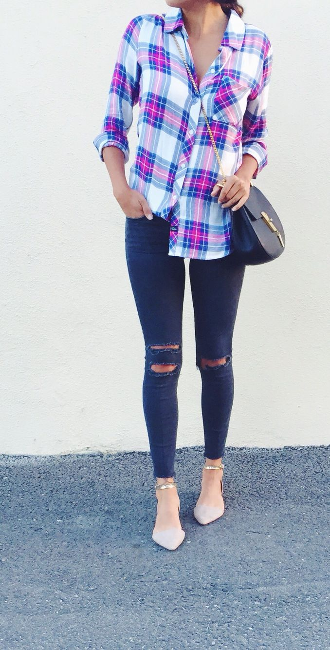 Plaid + distressed.