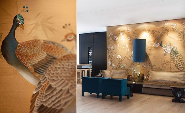 Customized modern chinoiserie 'Chinese Garden with Peacocks' by Misha wallpaper: hand painted wallpaper Chinese Garden with Peacocks on Bronze silk in the shop of Palais22  in Frankfurt, Germany.