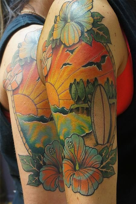 84 best images about tattoos on pinterest surf tatau for Beach scene tattoos
