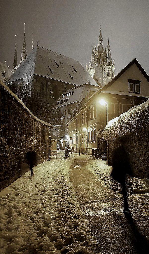 Cidade de Erfurt, Thuringia, na Alemanha. #Viagem #Europa #Inverno #Arquitetura