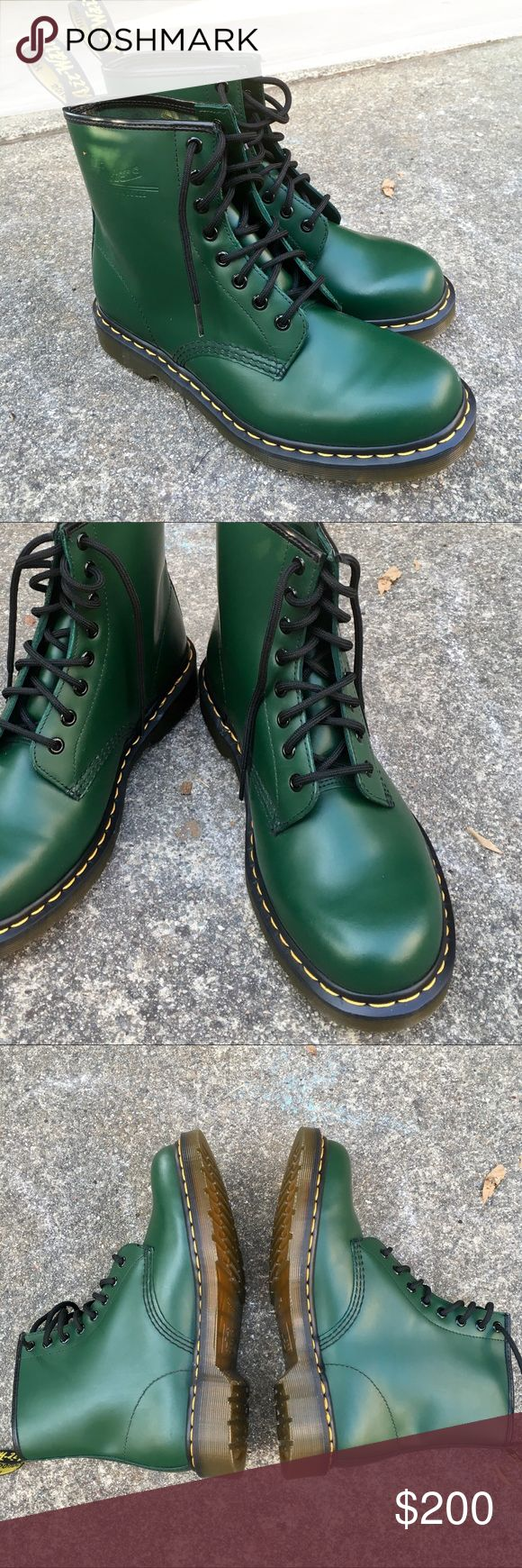 Gorgeous Green Dr. Martens Boots 41 These beautiful boots have never been worn; there is not a scratch on them, and the soles are perfectly clean. My husband bought them in London and never wore because they are too small for him. They are a size 41. Men's 8 and women's 10. These are definitely unisex. The color is such a gorgeous forest green. Posh says 41 translates to 11. I don't think that's correct. Best if you know your European sizing. Also I can measure them for you. Dr. Martens…