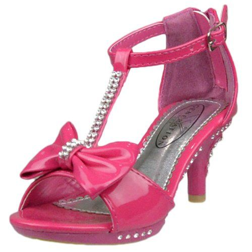 Kids Dress Sandals T-Strap Rhinestones Bow High Heel Dress Shoes | Fuchsia Pink Shoes