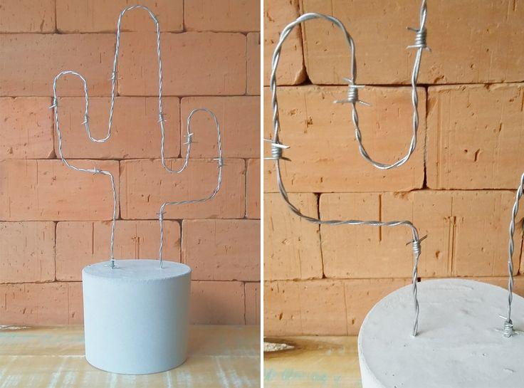 Como fazer cacto decorativo com arame farpado  (*adiciona um pisca-pisca e vira uma pseudo luminária)