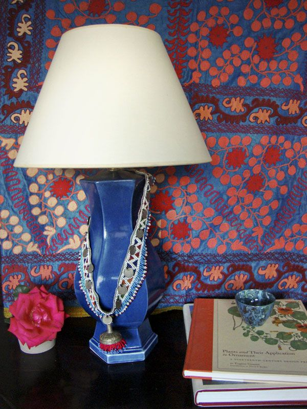 jewels on lamps and that textile/wallpaper!: Blue Suzani Background, Beautiful Shades, Design Elements Pattern, Interiors, Flea Market, Blue Jacqueline, Connective, Bright Colors, Apartment Portland