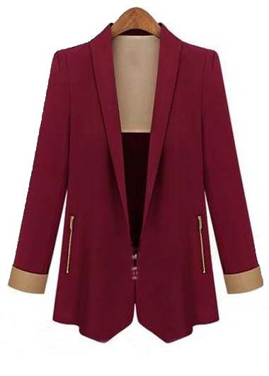 Work Essential Turndown Collar Red Suit for Autumn
