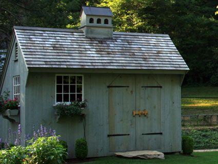 exterior of post and beam pool garden shed - Garden Sheds New Hampshire