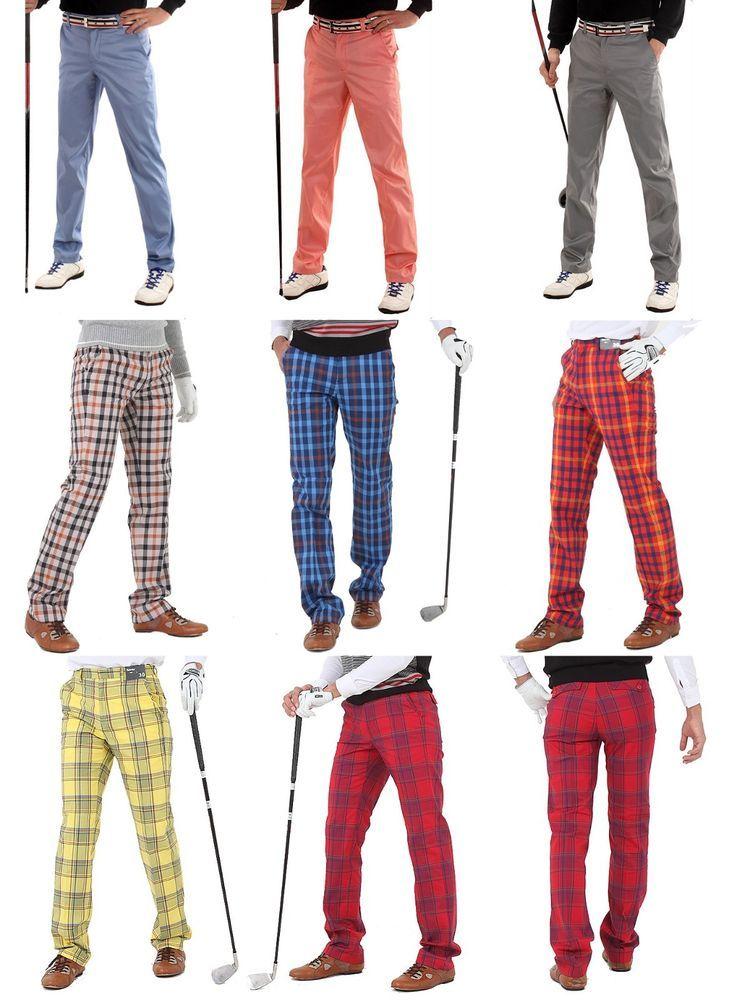 Mens plaid golf pants for men stretch comfortable tartan check Activity trousers #nyfashioncity #Golfpants