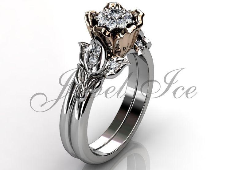 flower engagement ring set 14k white and rose gold diamond cluster setting flower wedding band - Flower Wedding Ring