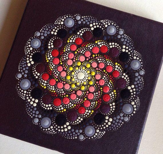 Original Dotart Purple Rain Mandala Painting on Canvas, 20x20cm Painting, Office and home ornament decoration Gift Dotilism Dotart Henna Art