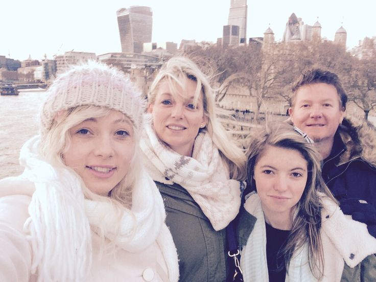 Family selfie on the tower bridge in London