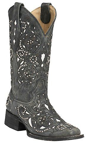 Corral® Women's Distressed Black w/ White Inlay & Silver Studs Square Toe Western Boots | Cavender's Boot City