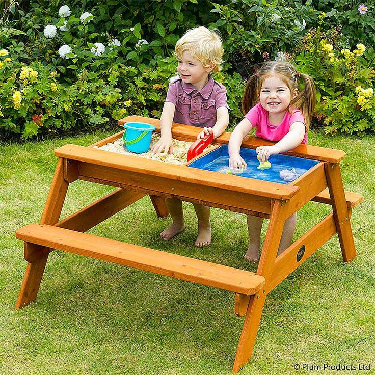 play outdoor with water table for kids water wooden picnic table