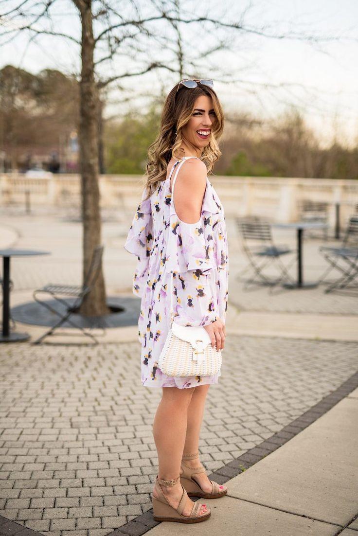 floral + spring, purple floral dress, asos floral dress, spring fashion, spring dresses, spring outfit inspo, spring style, lavender floral dress, basket purse, basketweave purse, pastel colored dress, asos dress, what to wear in the spring