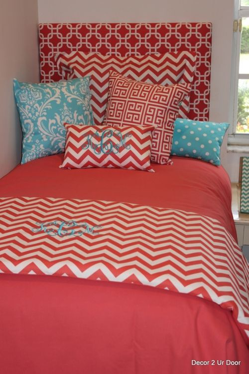 Coral Chevron and Aqua Tiffany Blue Dorm Room Bedding | Sorority and Dorm Room Bedding. Got to much stuff going on with headboard in that striped pattern. Maybe doing headboard in like aqua or coral?