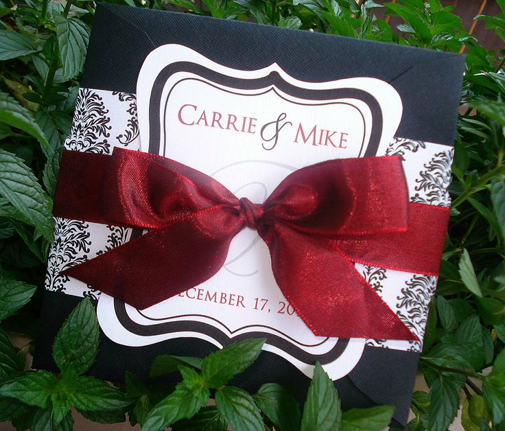 SLIGHTLY SANGRIA Red, Black and White Damask Square Wedding Invitation Sample. $7.00, via Etsy.