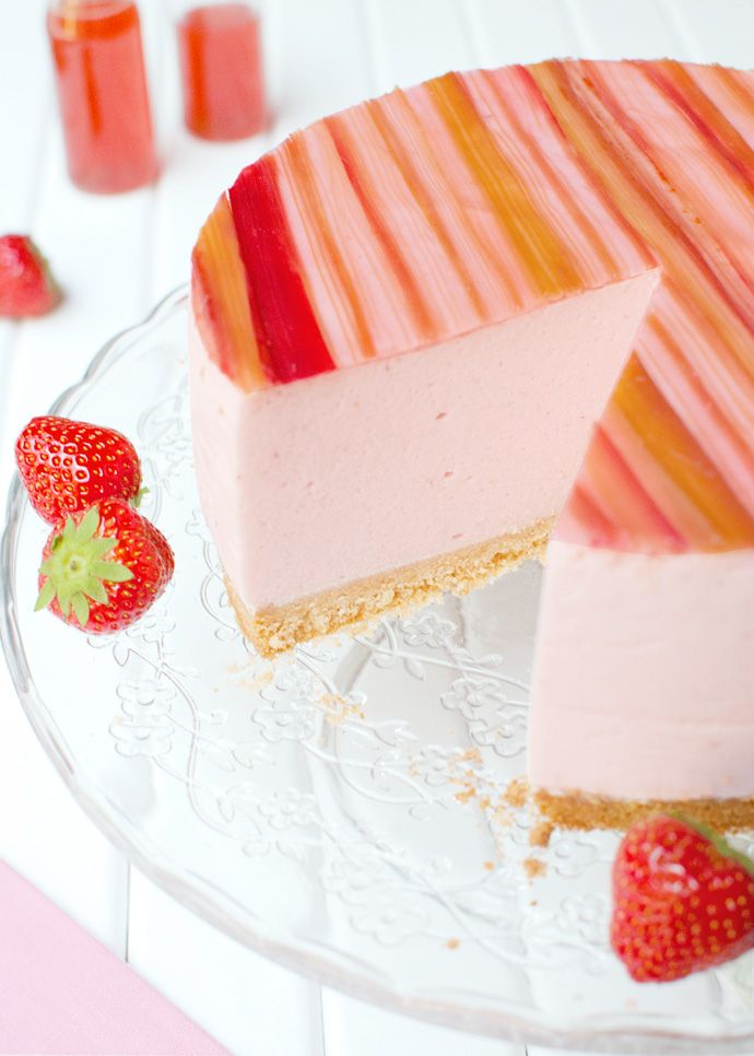 Strawberry Mousse Cake with Candied Rhubarb