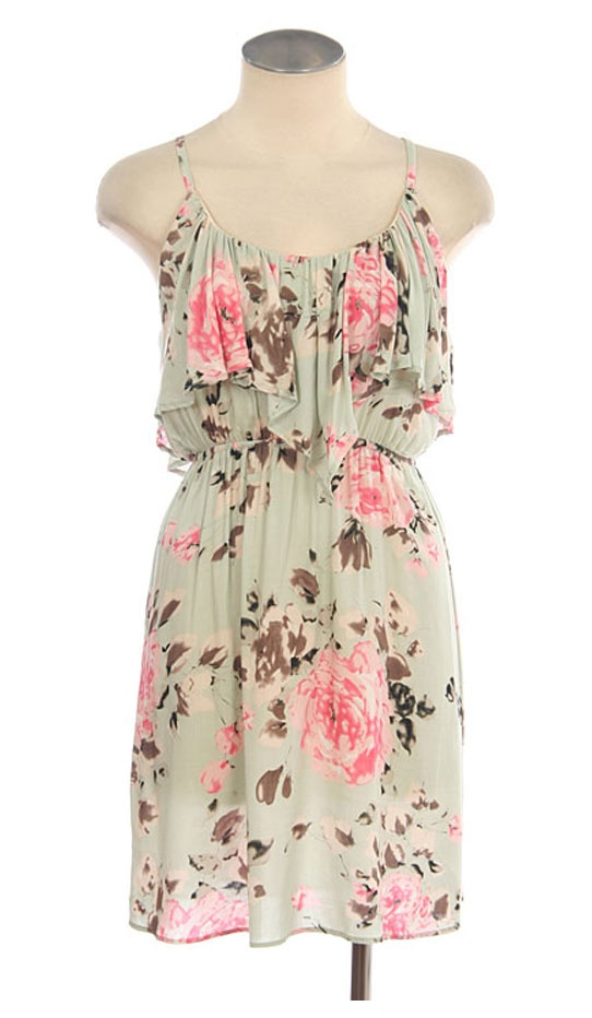 faded mint with roses, I'm in love with flower print dresses.