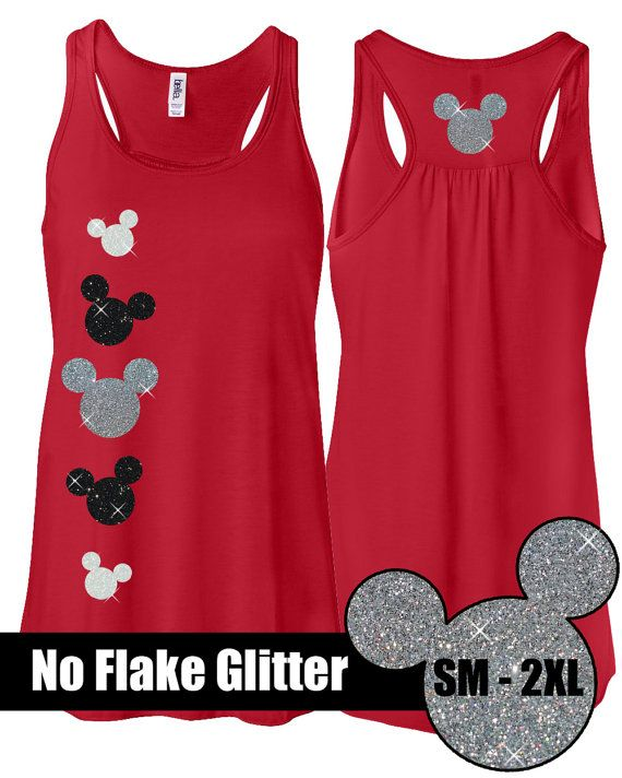 GLITTER Mickey Red Flowy Tank -- Disneyland Shirt // Disney Cinderella Castle Disney Clothing // Mickey // Disney World // Womens Clothing