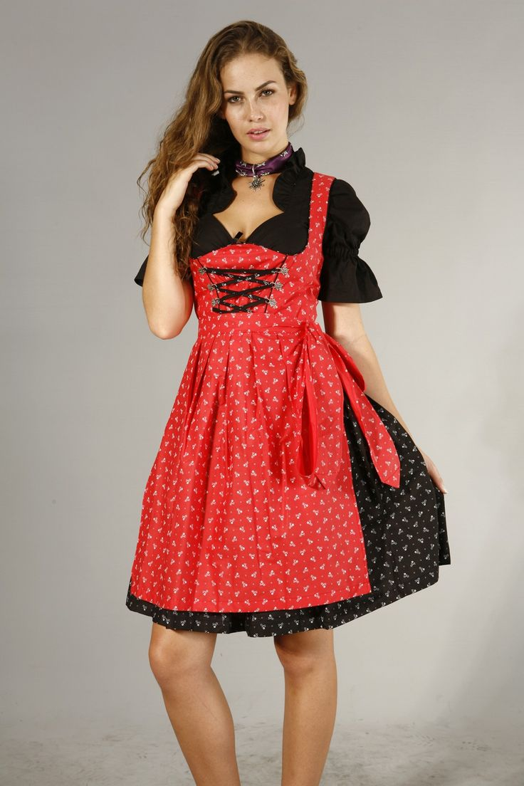 3tlg. Streublumen Dirndl schwarz rot mit Bluse und Schuerze 59,90 € #Trachten shop  #minidirndl günstig kaufen @dirndloutlet