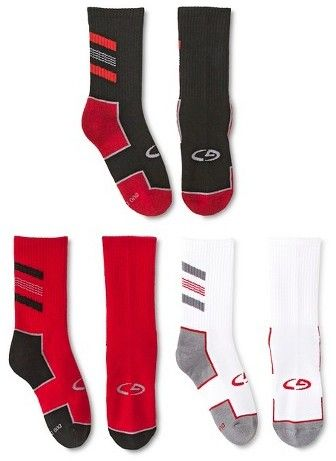 C9 Champion Boys' Crew Athletic Socks 3 pk C9 Champion® - Red