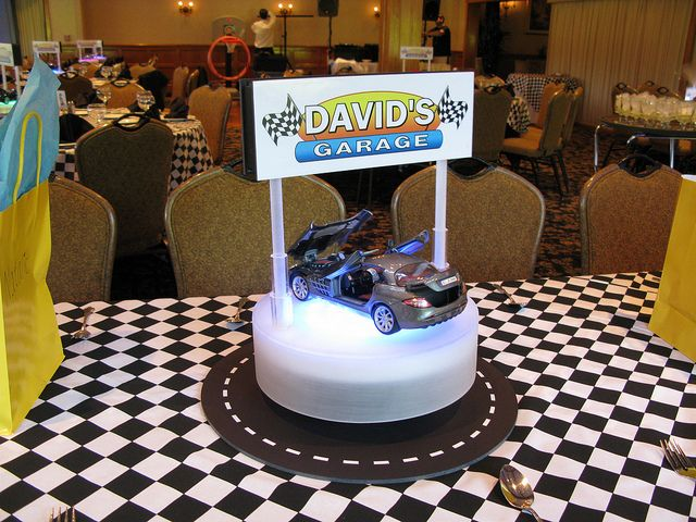 Car themed centerpieces for adults party homemade cars for Homemade birthday decorations for adults