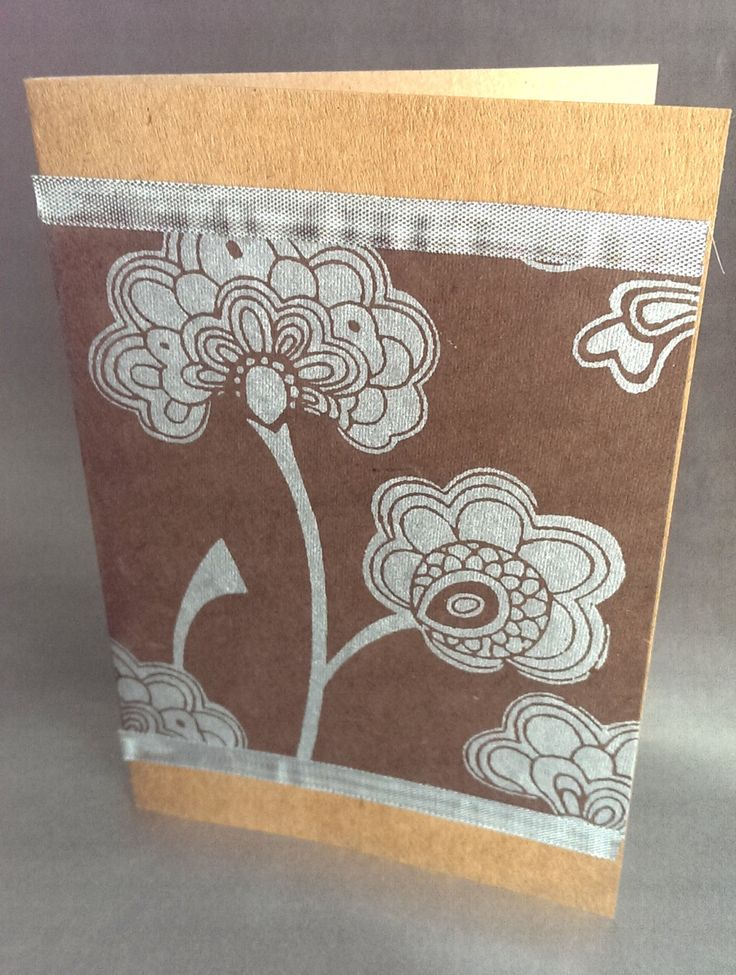 Handmade card, blank note card, beautiful brown and silver textured paper, handmade stationery by SilverpressShop on Etsy