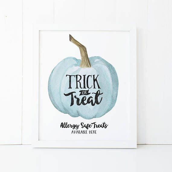 Teal Pumpkin Trick or Treat Printable Wall Art Teal Pumpkin Project Allergy Free Treats Nut Free Halloween Decor Halloween Teal Pumpkin Trick or Treat Sign Let everyone know that you are passing out allergy free treats this Halloween by displaying a teal pumpkin! (This is dear to my heart because I have a son who is allergic to peanuts!) Decorate your home, apartment, or costume party with this fun Halloween print, or give as the perfect gift to a friend or loved one this holiday!