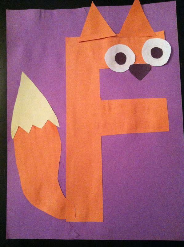 letters, kindergarten, preschool, alphabet craft, f fox craft, alphabet animals, f is for fox