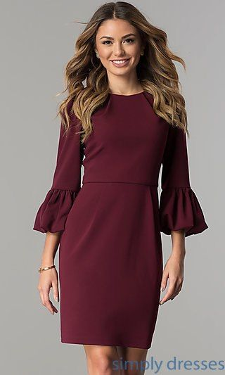8f272fcd439c Shop scoop-neck short wedding-guest dresses under $100 at Simply Dresses.  Semi-formal knee-length party dresses with three-quarter bell sleeves.