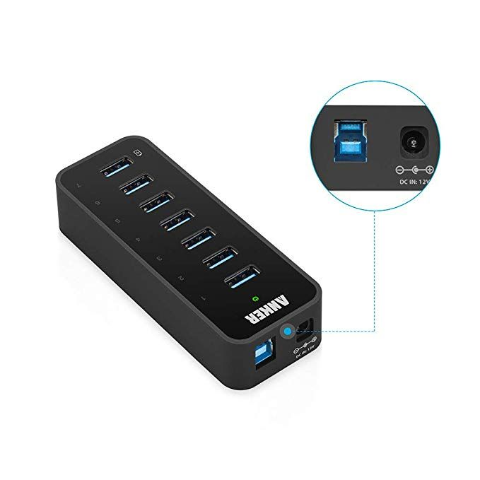 Anker 7-Port USB 3.0 Data Hub with 36W Power Adapter and BC 1.2 Charging Port