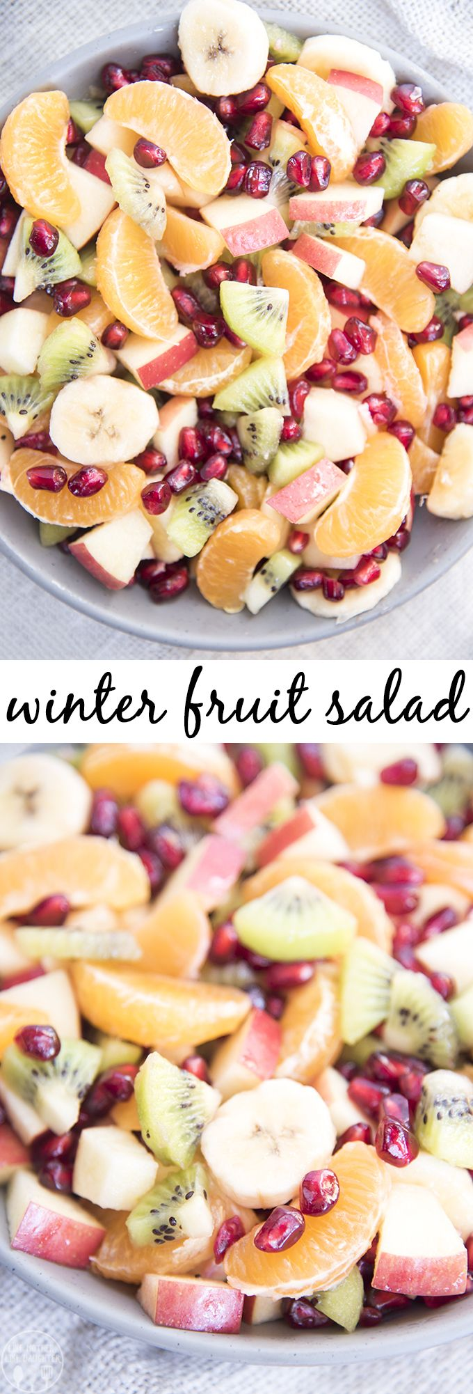 Winter Fruit Salad - This simple fruit salad is loaded full of winter fruits, and is perfect for a holiday party or dinner side dish.
