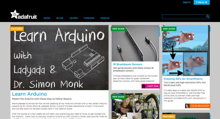 Adafruit is the best place online for learning electronics and making the best designed products for makers of all ages and skill levels.