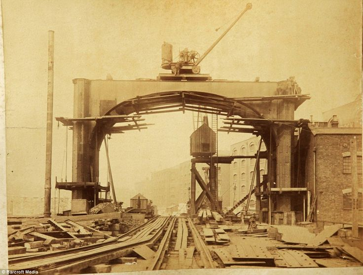 Development: Photos show the progress in the construction process, from basic structures to something easily recognisable as Tower Bridge as we know it today