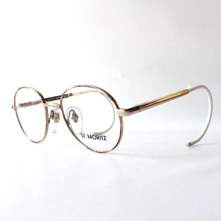 vintage 1980's NOS st moritz round beige brown cream marble gold metal eyeglasses frames womens modern retro eye glasses eyewear deadstock by RecycleBuyVintage on Etsy